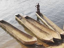 Present day fishing canoes.